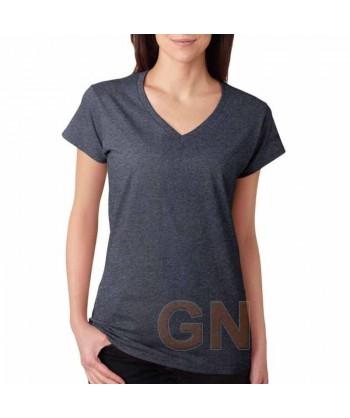 Camiseta de manga corta y cuello pico para mujer Color gris oscuro