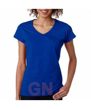 Camiseta de manga corta y cuello pico para mujer
