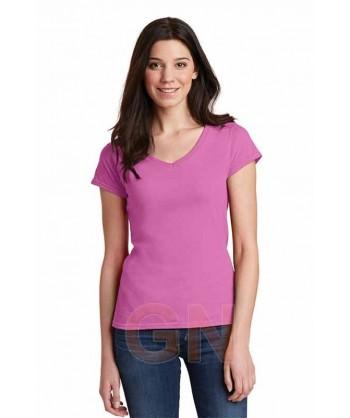 Camiseta de manga corta y cuello pico para mujer Color azalea