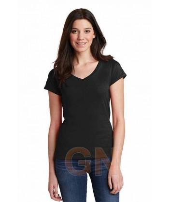 Camiseta de manga corta y cuello pico para mujer Color negro