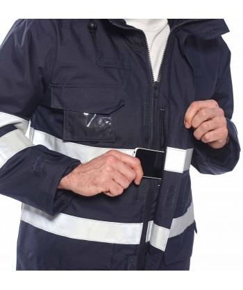 Parka ignífuga, impermeable, transpirable, antiestática con protección química con cintas reflectantes