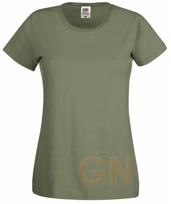 Camiseta manga corta de Fruit of the Loom para mujer Color verde oliva