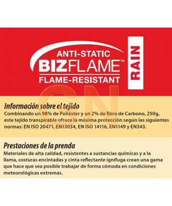 Parka ignífuga, impermeable, transpirable,antiestática con protección química