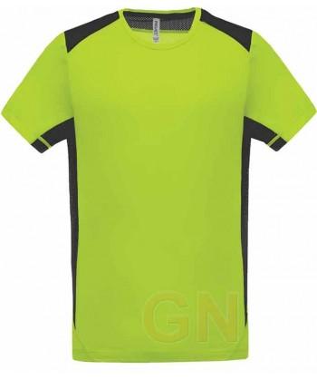 Camiseta técnica bicolor de manga corta y cuello redondo
