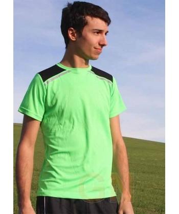 Camiseta transpirable de manga corta y cuello redondo para deporte color Verde A.V./negro