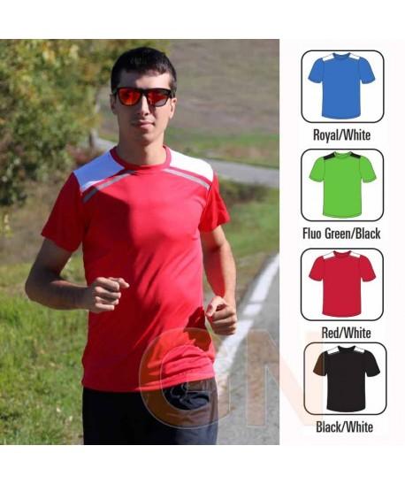 Camiseta transpirable de manga corta y cuello redondo para deporte