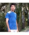 Camiseta transpirable de manga corta y cuello redondo para deporte color azul