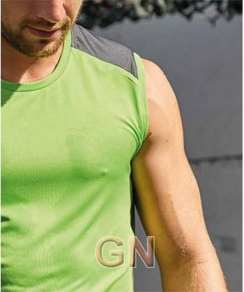Camiseta bicolor, transpirable sin mangas con cuello redondo