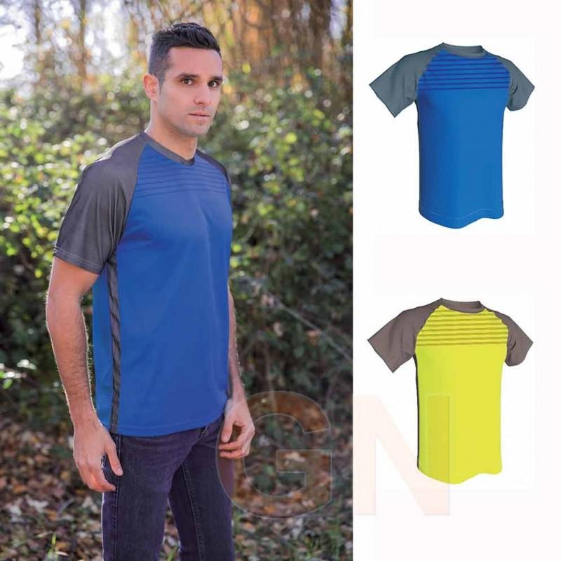Camiseta bicolor y transpirable de manga corta y cuello redondo para hombre