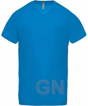 Camiseta transpirable de manga corta y cuello pico