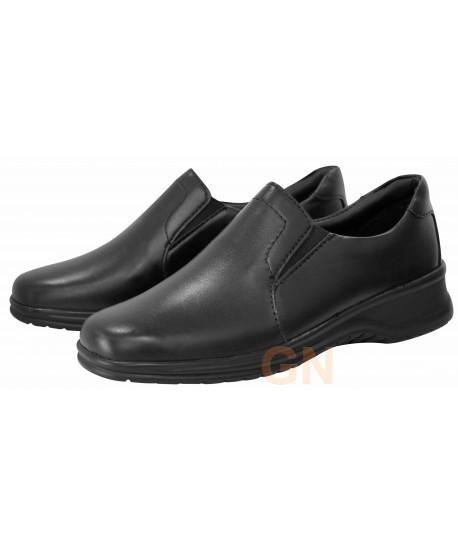 Zapato mocasín de piel de mujer para uniformidad y hostelería
