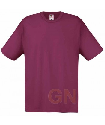 Camiseta Fruit of the Loom de algodón cuello redondo y manga corta Color burdeos