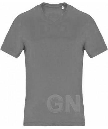 Camiseta de algodón con cuello pico y manga corta Color gris oscuro