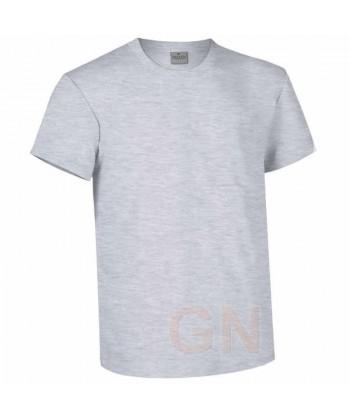 Camiseta de algodón con cuello pico y manga corta Gris claro