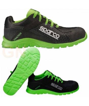 Zapato S1P modelo Practice de Sparco Negro/verde fluor