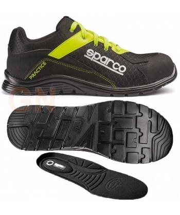 Zapato S1P modelo Practice de Sparco Negro/amarillo fluor