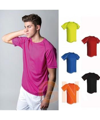 Camiseta transpirable con costuras a contraste y manga corta