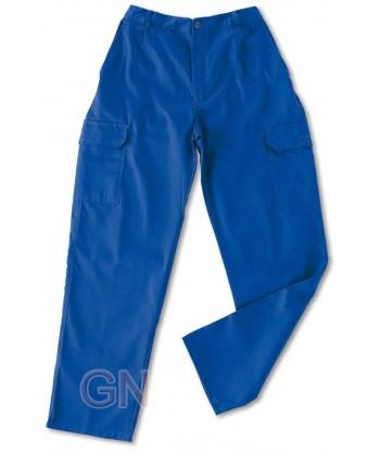 pantalón económico de algodón multibolsillos color azulina