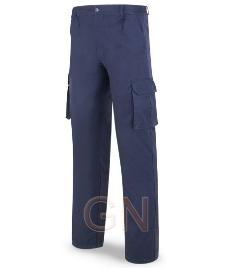Pantalón algodón multibolsillos triple costura marino