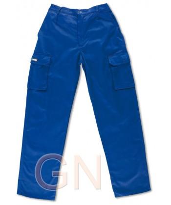 Pantalón algodón multibolsillos triple costura azulina