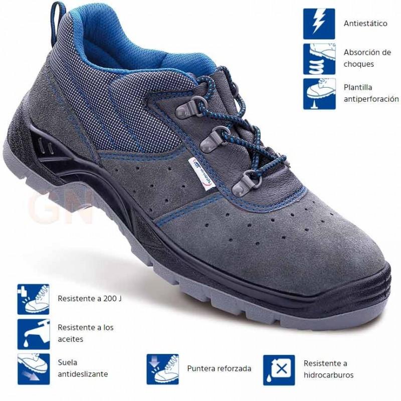 Zapato económico de seguridad en serraje perforado