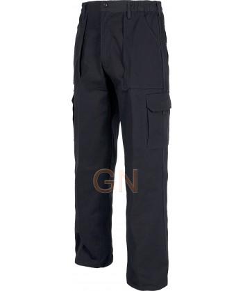 Pantalón multibolsillos de algodón con refuerzos marino