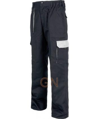 Pantalón combinado de algodón multibolsillos con refuerzos gris oscuro / gris