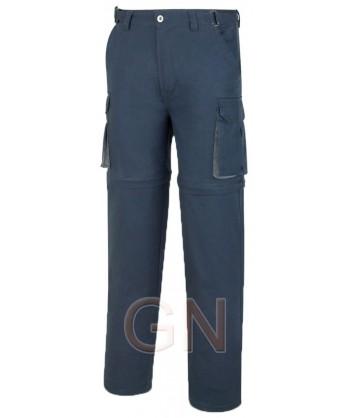 Pantalón de algodón multibolsillos desmontable marino