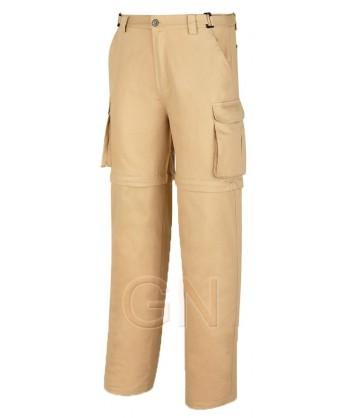Pantalón de algodón multibolsillos desmontable beige