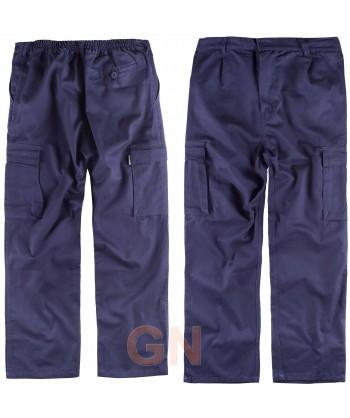 Pantalón multibolsillos ligero de algodón marino