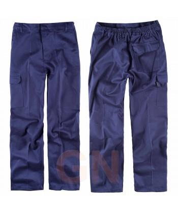 Pantalón económico multibolsillos de algodón color azul marino