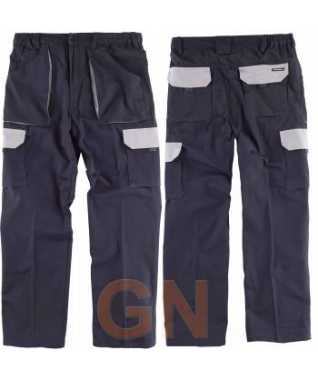 Pantalón combinado de algodón multibolsillos con refuerzos marino/gris