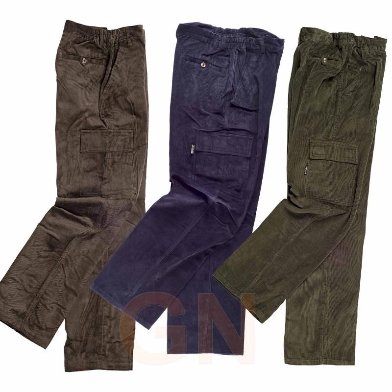 Pantalón de algodón de pana multibolsillos