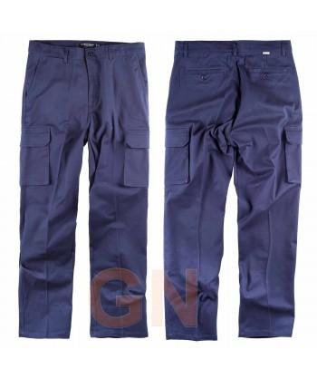 Pantalón multibolsillos bielástico marino