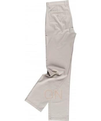 Pantalón tipo chino tejido elástico beige para mujer