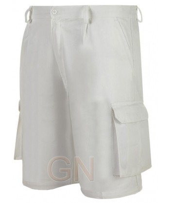 Pantalón bermuda combinado blanco