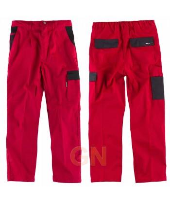 Pantalón multibolsillos muy grueso con tapetas a contraste rojo negro