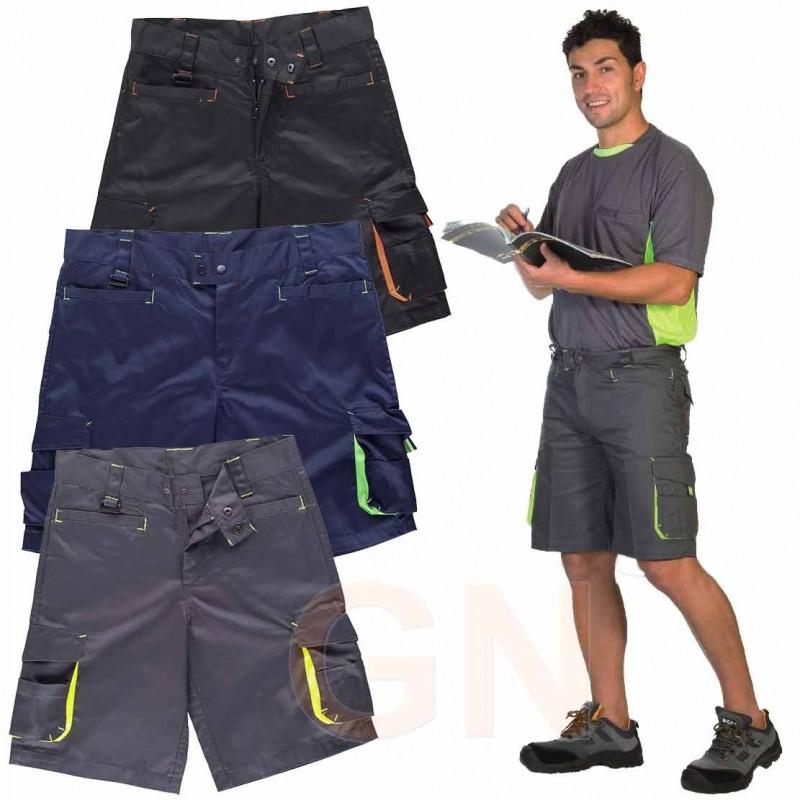 Pantalón bermuda multibolsillos con detalles en alta visibilidad