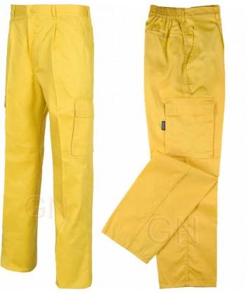 pantalón económico multibolsillos amarillo