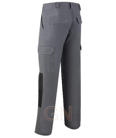 Pantalón multibolsillos bielástico con refuerzos gris