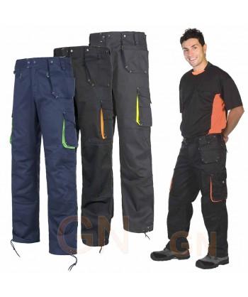 Pantalón multibolsillos con refuerzos negro y naranja flúor