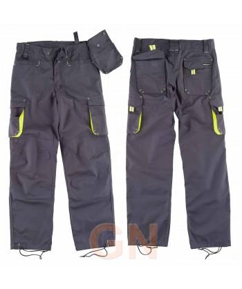 Pantalón multibolsillos con refuerzos gris y amarillo flúor