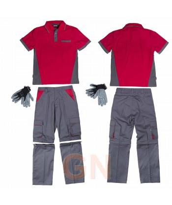 Conjunto para el verano de pantalón, polo y guantes gris y rojo