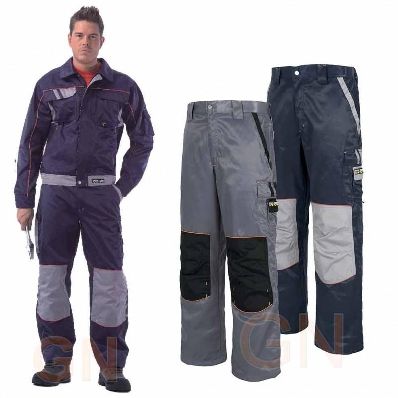Pantalones multibolsillos triple costura tejido antimanchas gris negro