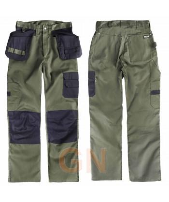 Pantalón multibolsillos de diseño moderno verde kaki/negro
