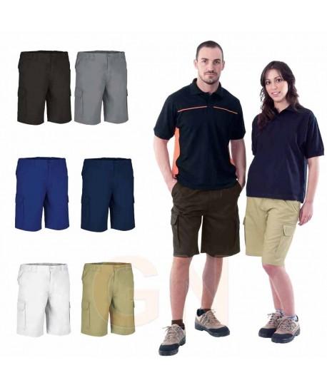 pantalón bermuda de tergal multibolsillos