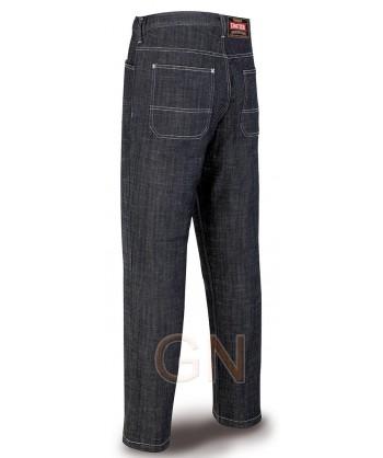 Pantalon multibolsillos elástico tipo vaqueros marino