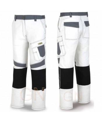 Pantalón multibolsillos con refuerzos de cordura blanco/gris
