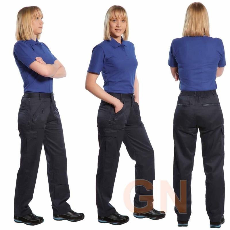 Pantalón laboral de mujer multibolsillos con rodilleras
