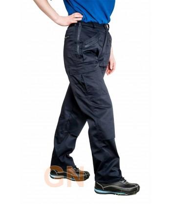 Pantalón laboral de mujer multibolsillos con rodilleras color azul marino
